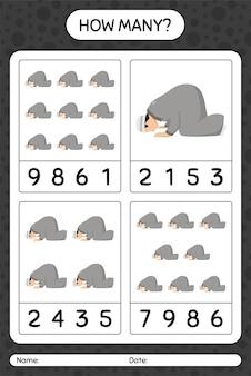 Wie viele zählen spiel mit dem beten. arbeitsblatt für kinder im vorschulalter, kinderaktivitätsblatt, druckbares arbeitsblatt