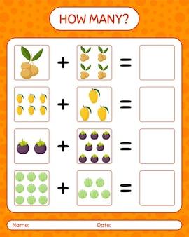 Wie viele zählen spiel mit obst. arbeitsblatt für kinder im vorschulalter, kinderaktivitätsblatt, druckbares arbeitsblatt