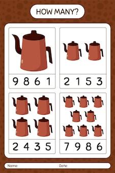 Wie viele zählspiele mit arabischer teekanne. arbeitsblatt für kinder im vorschulalter, kinderaktivitätsblatt, druckbares arbeitsblatt