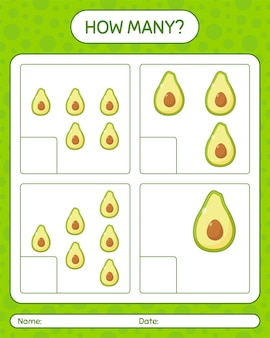 Wie viele zählspiele mit avocado-arbeitsblatt für kinder im vorschulalter