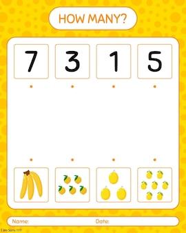 Wie viele zählspiele mit banane, farkleberry, kiwi. arbeitsblatt für kinder im vorschulalter