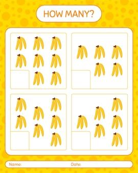 Wie viele zählspiele mit bananenarbeitsblatt für kinder im vorschulalter
