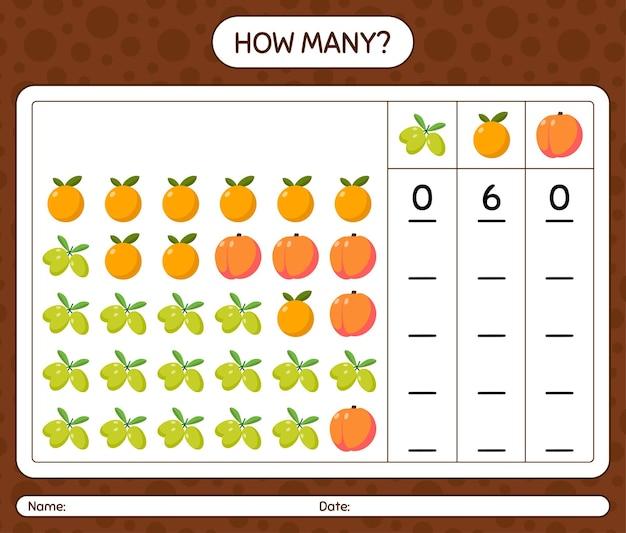 Wie viele zählspiele mit früchten. arbeitsblatt für kinder im vorschulalter, kinderaktivitätsblatt, druckbares arbeitsblatt