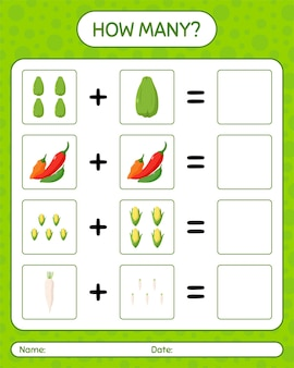 Wie viele zählspiele mit gemüse. arbeitsblatt für kinder im vorschulalter, kinderaktivitätsblatt, druckbares arbeitsblatt