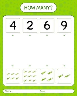 Wie viele zählspiele mit grünen bohnen. arbeitsblatt für kinder im vorschulalter, aktivitätsblatt für kinder Premium Vektoren