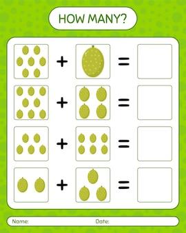Wie viele zählspiele mit jack fruit. arbeitsblatt für kinder im vorschulalter, kinderaktivitätsblatt, druckbares arbeitsblatt