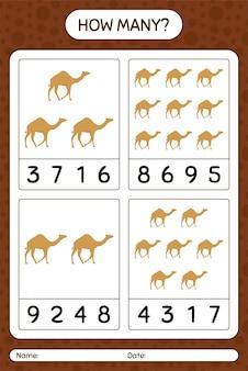Wie viele zählspiele mit kamel. arbeitsblatt für kinder im vorschulalter, kinderaktivitätsblatt, druckbares arbeitsblatt