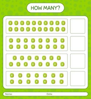 Wie viele zählspiele mit kiwi-arbeitsblatt für kinder im vorschulalter, kinderaktivitätsblatt, druckbares arbeitsblatt