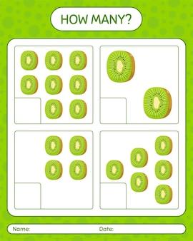 Wie viele zählspiele mit kiwi-arbeitsblatt für kinder im vorschulalter