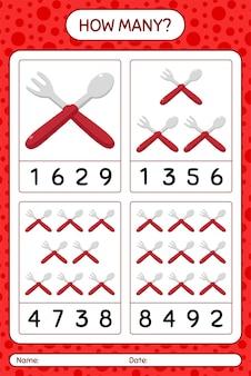 Wie viele zählspiele mit löffel und gabel. arbeitsblatt für kinder im vorschulalter, kinderaktivitätsblatt, druckbares arbeitsblatt