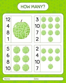 Wie viele zählspiele mit melone. arbeitsblatt für kinder im vorschulalter, kinderaktivitätsblatt, druckbares arbeitsblatt