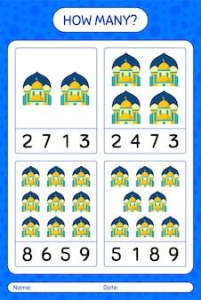 Wie viele zählspiele mit moschee. arbeitsblatt für kinder im vorschulalter, kinderaktivitätsblatt, druckbares arbeitsblatt