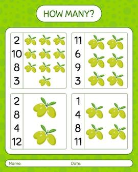 Wie viele zählspiele mit oliven. arbeitsblatt für kinder im vorschulalter, kinderaktivitätsblatt, druckbares arbeitsblatt