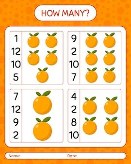 Wie viele zählspiele mit orange. arbeitsblatt für kinder im vorschulalter, kinderaktivitätsblatt, druckbares arbeitsblatt