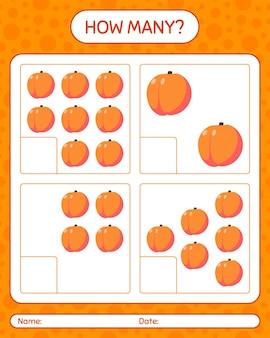 Wie viele zählspiele mit pfirsich-arbeitsblatt für kinder im vorschulalter