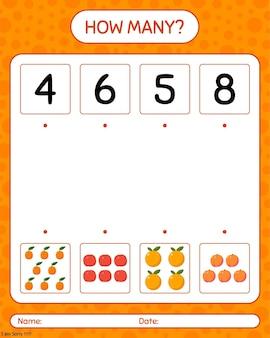 Wie viele zählspiele mit pfirsich, orange, nektarine. arbeitsblatt für kinder im vorschulalter