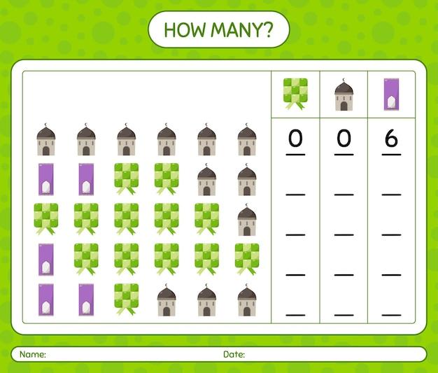 Wie viele zählspiele mit ramadan-symbol. arbeitsblatt für kinder im vorschulalter, kinderaktivitätsblatt, druckbares arbeitsblatt
