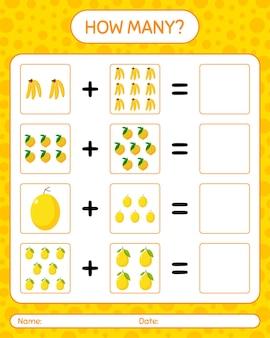 Wie viele zählspiele mit rbanana, eierfrucht, honigtau-melone. arbeitsblatt für kinder im vorschulalter