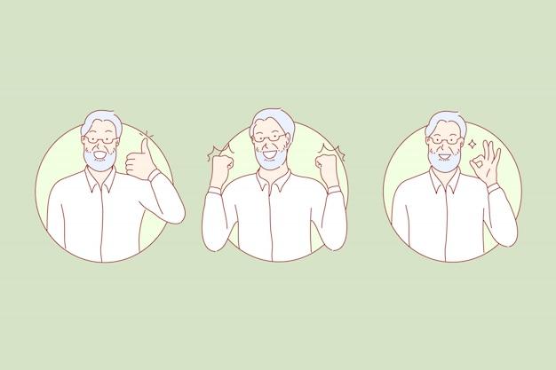 Wie zeichen gesetzte illustration des okayzeichens