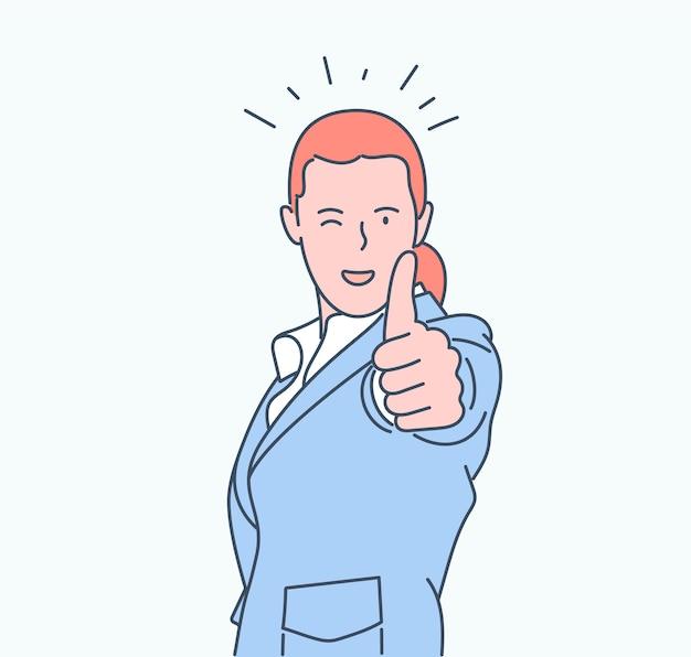 Wie zeichen, konzept. junge glückliche lächelnde frau oder mädchen-teenager-karikaturfigur, die daumen oben zeigt.