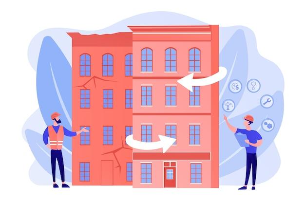 Wiederaufbau von wohnhäusern, stadterneuerung