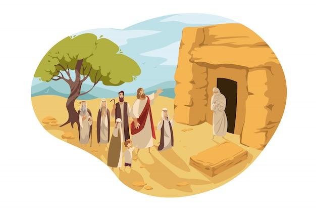 Wiederbelebung des lazarus durch christus, bibelkonzept