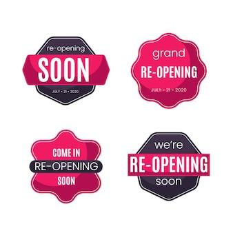 Wiedereröffnung bald abzeichen design
