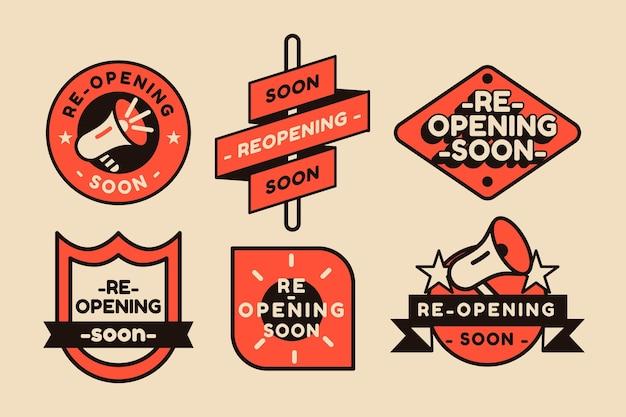 Wiedereröffnung bald abzeichen set thema