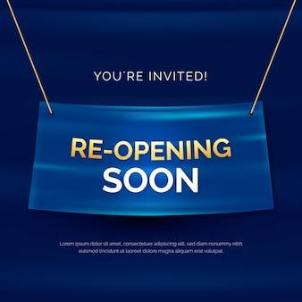 Wiedereröffnung bald banner mit einladung