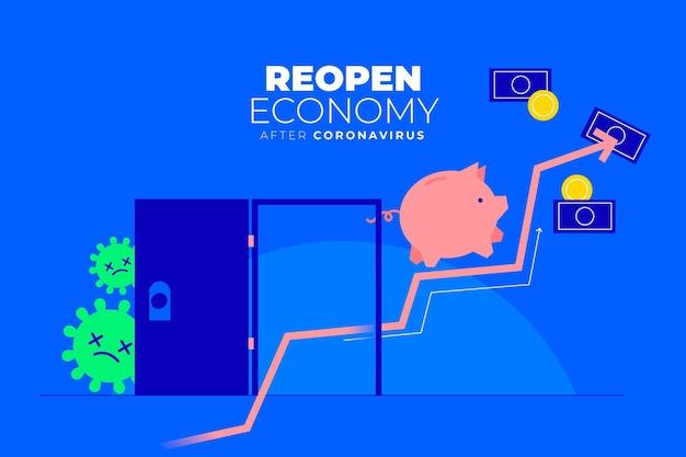 Wiedereröffnung der wirtschaft nach dem coronavirus-design