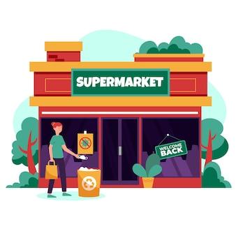 Wiedereröffnung der wirtschaft nach dem coronavirus-supermarkt
