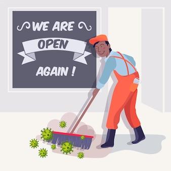 Wiedereröffnung der wirtschaft nach der illustration des coronavirus
