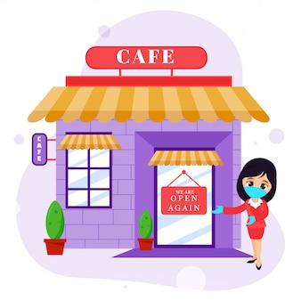 Wiedereröffnung des cafe-konzepts nach der pandemie.