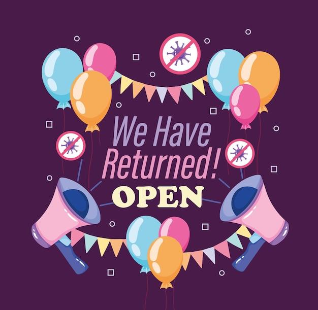 Wiedereröffnung megaphon lautsprecher ballons wimpel feier business illustration illustration