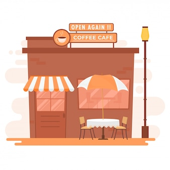Wiedereröffnung von cafe, restaurantkonzept nach pandemie.