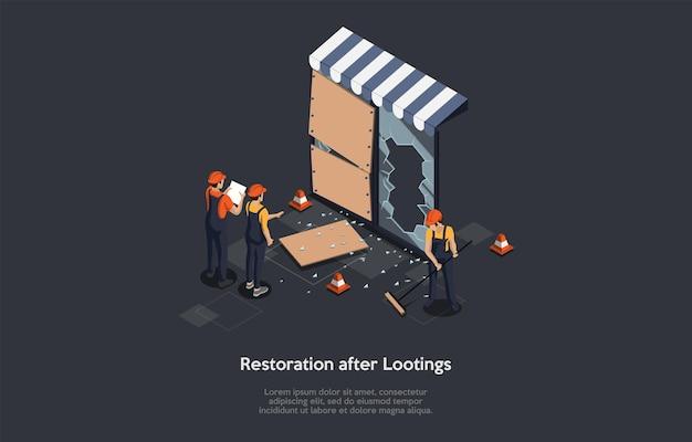 Wiederherstellung nach plünderungskonzept. isometrische zusammensetzung, cartoon 3d-stil illustration. vektor-design. team von arbeitern, die kaputte fenster reinigen und reparieren. aggressive rebellion konsequenzen ideen.