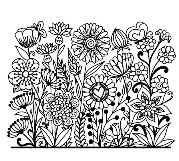 Wiederholbare blumenlinie, schwarze silhouette des blumengartens auf weißem hintergrund. vektor-illustration.