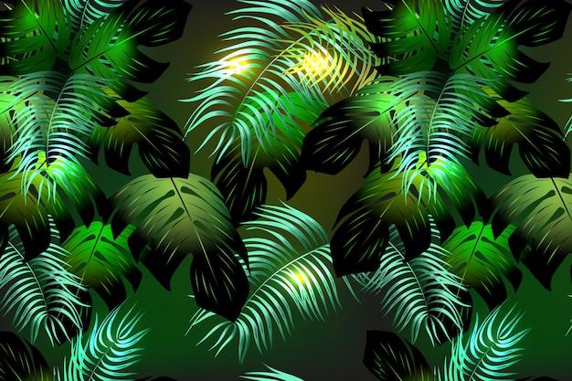 Wiederholen. boho-stil. nahtloses muster mit tropischen blättern.