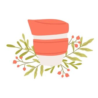 Wiederverwendbare kaffeetasse. nachhaltige küche und zero waste lifestyle. öko-lebenskonzept. vektor-cartoon-illustration