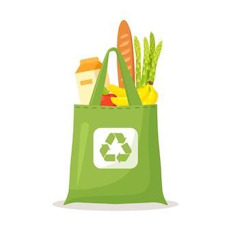 Wiederverwendbare öko-taschen aus stoff voller lebensmittel, gesunde lebensmittel. keine plastiktüte, verwenden sie ihr eigenes umweltfreundliches paket. recycelte recycelbare biologisch abbaubare nachhaltige verpackung