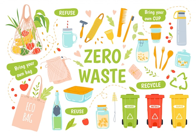 Wiederverwendbare ökologie. keine abfall-, recycling- und wiederverwendbaren produkte. hölzerne zahnbürste und haarbürste, gläser, halten kappe und öko-einkaufstüte illustrationssatz. umweltfreundliche brotdose. abfallsortierung