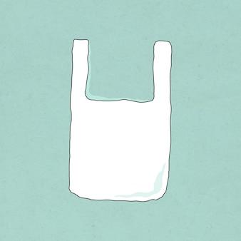 Wiederverwendbare plastiktüte doodle illustration umweltfreundliches leben