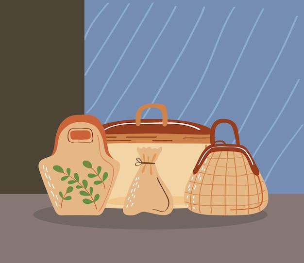 Wiederverwendbare taschen und symbole