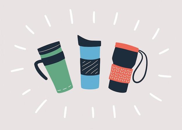 Wiederverwendbare tassen, thermobecher und becher mit deckel zum mitnehmen von heißem kaffee oder tee. hand gezeichnetes objekt.