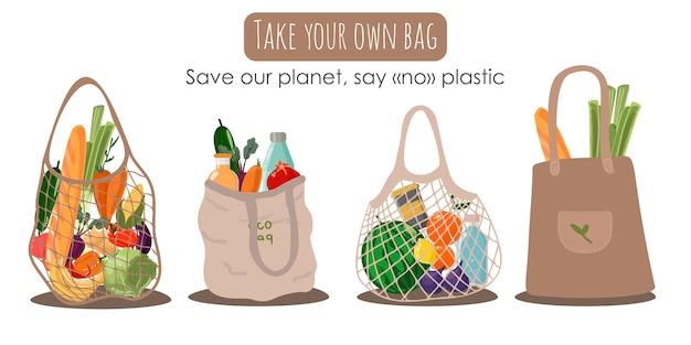 Wiederverwendbare textil-einkaufstasche mit gemüse und obst für ein umweltfreundliches leben. null-abfall-konzept. bunte hand gezeichnet. sag nein zu plastik