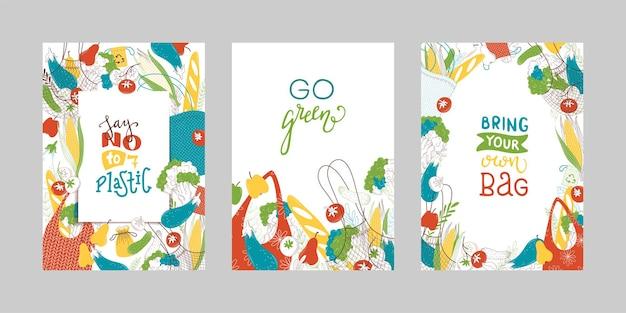 Wiederverwendbare textileinkaufstaschen mit frischen grüns, flache illustrationen ohne abfall
