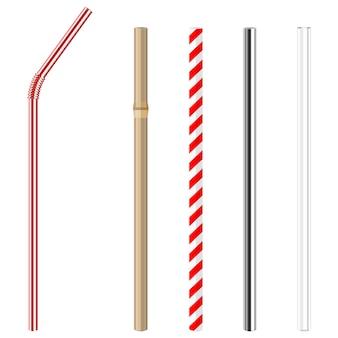 Wiederverwendbare trinkhalme aus glas, stahl, papier und bambus