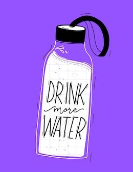 Wiederverwendbare wasserflasche mit getränk mehr wasserzitat nette sommerillustration auf violettem hintergrund