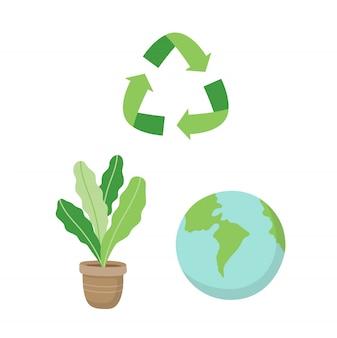 Wiederverwertung des zeichens, der anlage und der planetenerde. ökologische konzeptillustration eingestellt in karikaturart