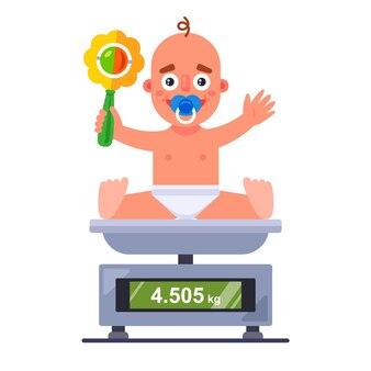 Wiegen eines kleinen kindes auf einer waage in einem krankenhaus. flache vektorzeichenillustration.